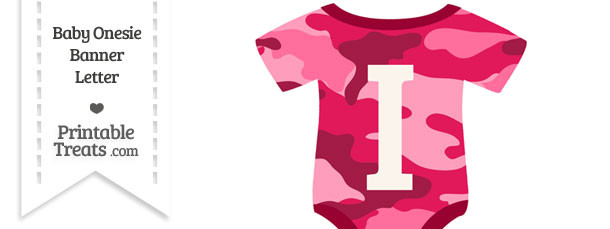 Pink Camouflage Baby Onesie Shaped Banner Letter I
