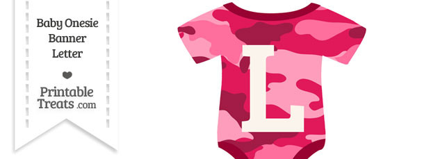 Pink Camouflage Baby Onesie Shaped Banner Letter L