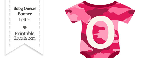 Pink Camouflage Baby Onesie Shaped Banner Letter O