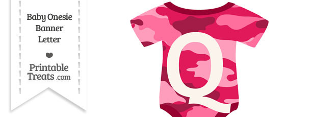 Pink Camouflage Baby Onesie Shaped Banner Letter Q