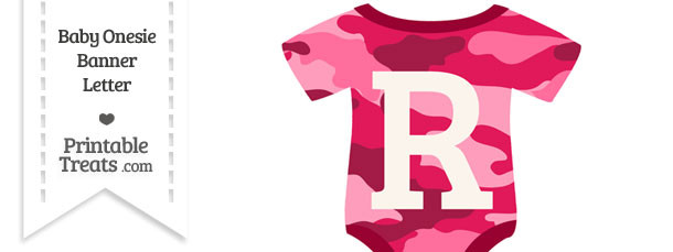 Pink Camouflage Baby Onesie Shaped Banner Letter R
