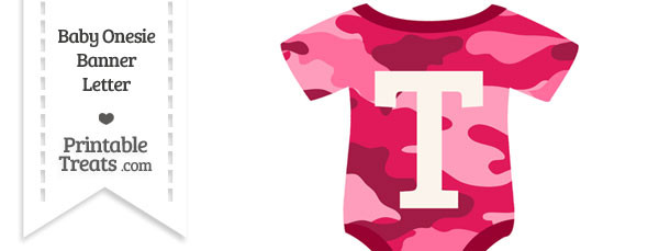 Pink Camouflage Baby Onesie Shaped Banner Letter T