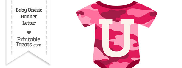 Pink Camouflage Baby Onesie Shaped Banner Letter U