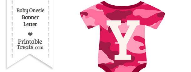 Pink Camouflage Baby Onesie Shaped Banner Letter Y