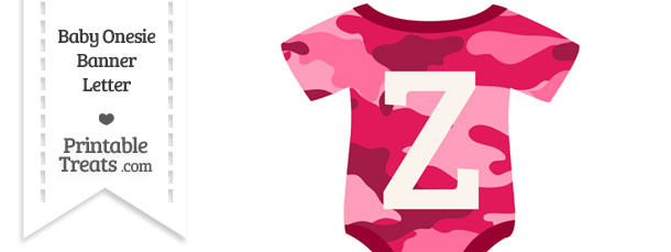 Pink Camouflage Baby Onesie Shaped Banner Letter Z