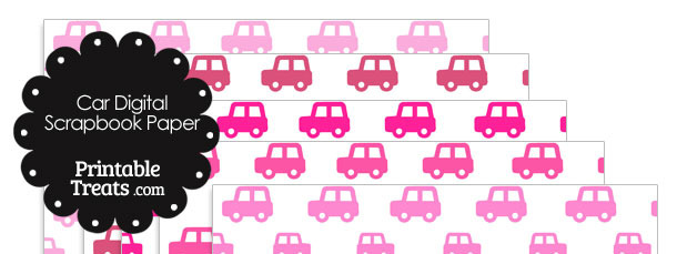 Pink Car Digital Scrapbook Paper