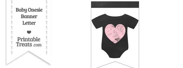 Pink Chalk Baby Onesie Bunting Banner Heart End Flag