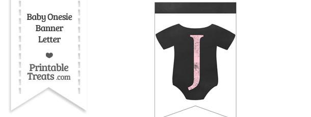 Pink Chalk Baby Onesie Bunting Banner Letter J