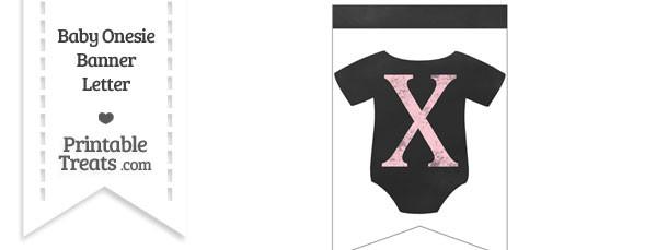 Pink Chalk Baby Onesie Bunting Banner Letter X