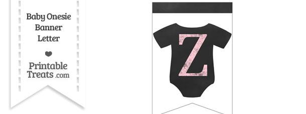 Pink Chalk Baby Onesie Bunting Banner Letter Z