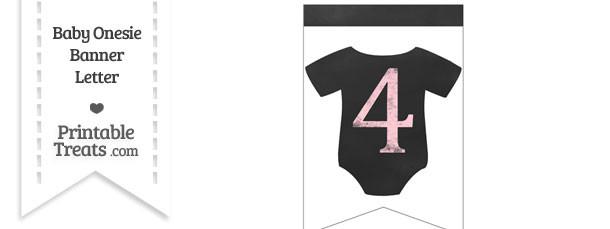 Pink Chalk Baby Onesie Bunting Banner Number 4