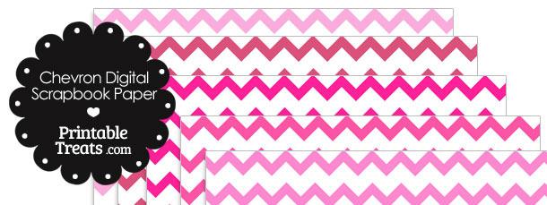 Pink Chevron Digital Scrapbook Paper