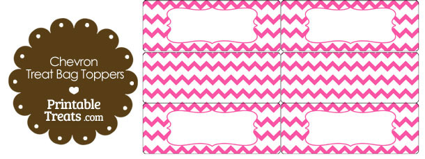 Pink Chevron Treat Bag Toppers