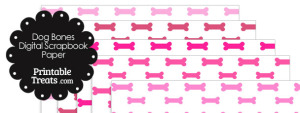 Pink Dog Bone Digital Scrapbook Paper
