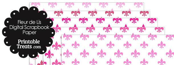 Pink Fleur de Lis Digital Scrapbook Paper
