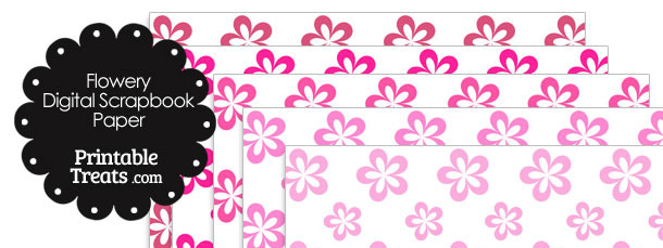 Pink Flower Digital Scrapbook Paper