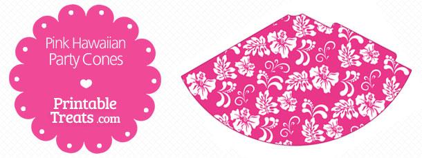 free-pink-hawaiian-pattern-party-cones