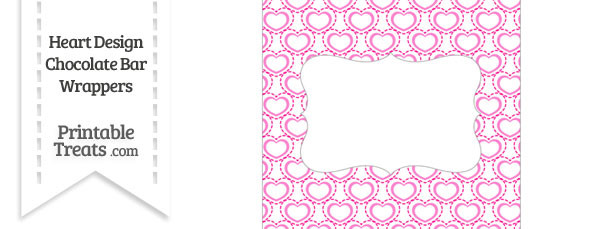 Pink Heart Design Chocolate Bar Wrappers
