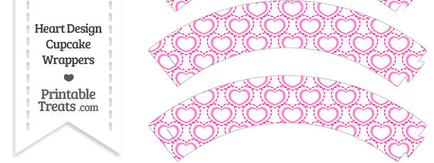 Pink Heart Design Cupcake Wrappers