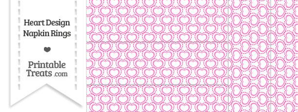 Pink Heart Design Napkin Rings