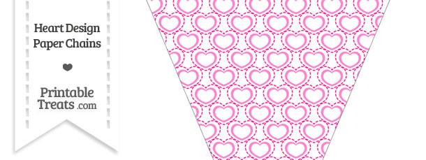 Pink Heart Design Pennant Banner Flag