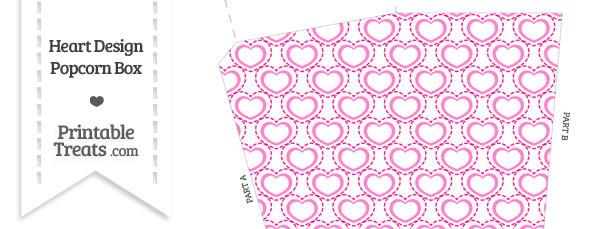 Pink Heart Design Popcorn Box