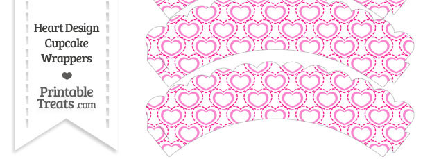 Pink Heart Design Scalloped Cupcake Wrappers