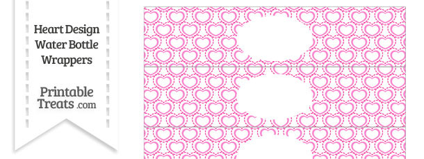 Pink Heart Design Water Bottle Wrappers