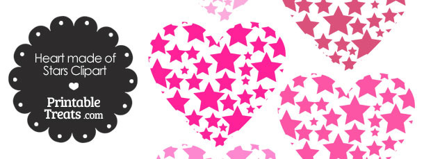 Pink Heart Made of Stars Clipart