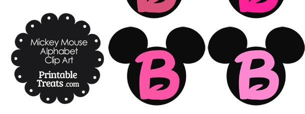 Pink Mickey Mouse Head Letter B Clipart