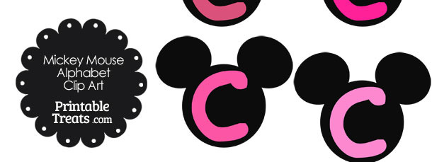 Pink Mickey Mouse Head Letter C Clipart