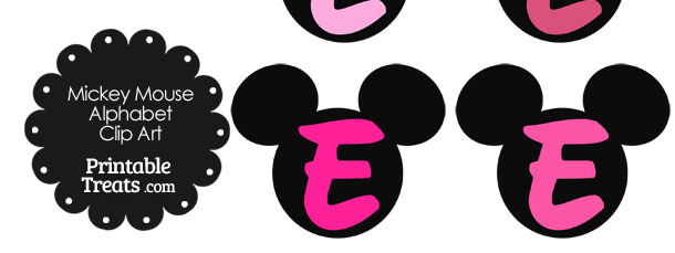 Pink Mickey Mouse Head Letter E Clipart