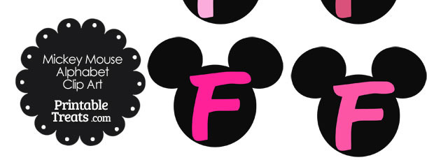 Pink Mickey Mouse Head Letter F Clipart