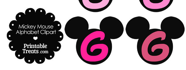 Pink Mickey Mouse Head Letter G Clipart