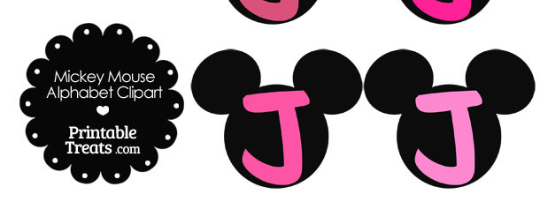 Pink Mickey Mouse Head Letter J Clipart