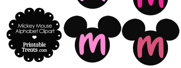 Pink Mickey Mouse Head Letter M Clipart