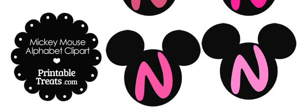 Pink Mickey Mouse Head Letter N Clipart