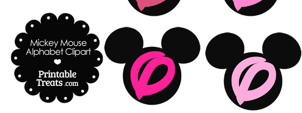Pink Mickey Mouse Head Letter O Clipart
