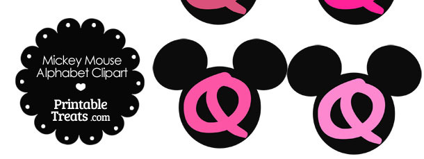Pink Mickey Mouse Head Letter Q Clipart