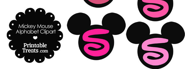 Pink Mickey Mouse Head Letter S Clipart