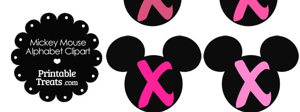 Pink Mickey Mouse Head Letter X Clipart