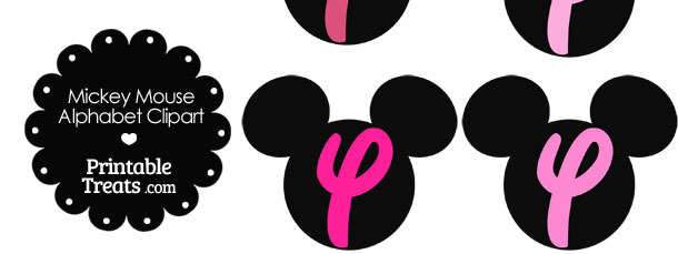 Pink Mickey Mouse Head Letter Y Clipart