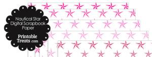 Pink Nautical Star Digital Scrapbook Paper