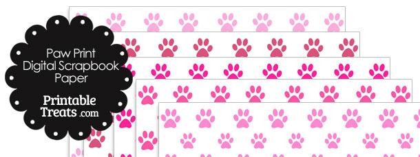 Pink Paw Print Digital Scrapbook Paper