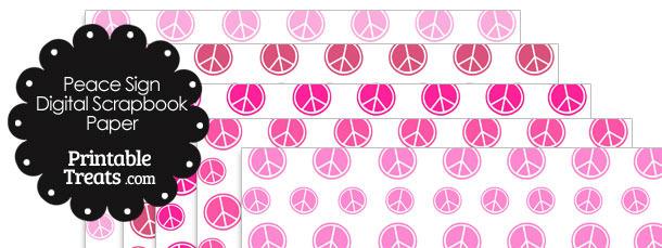 Pink Peace Sign Digital Scrapbook Paper
