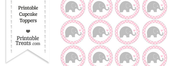 Pink Polka Dot Baby Elephant Cupcake Toppers