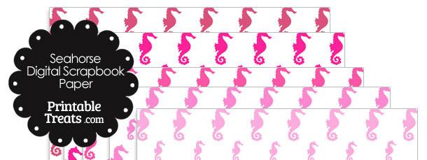 Pink Seahorse Digital Scrapbook Paper