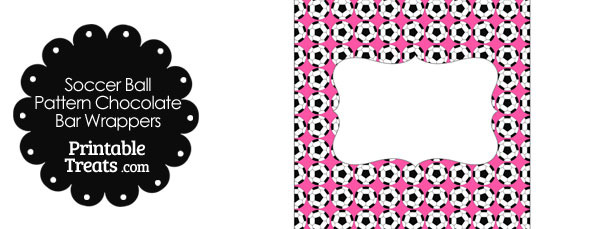 Pink Soccer Ball Pattern Chocolate Bar Wrappers