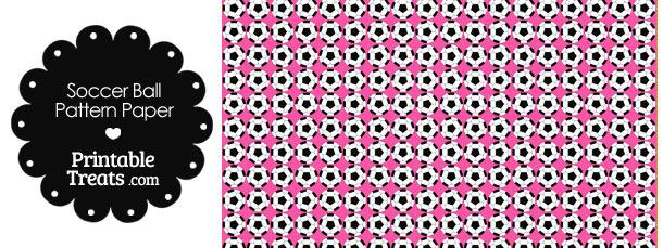 Pink Soccer Ball Pattern Digital Scrapbook Paper