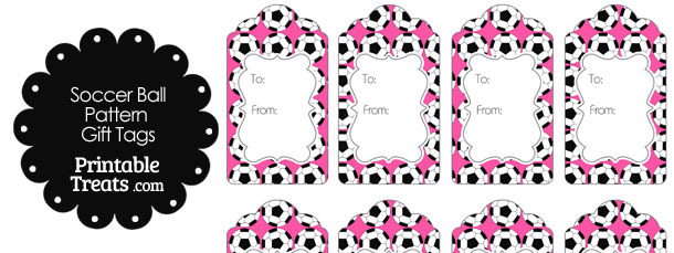 Pink Soccer Ball Pattern Gift Tags